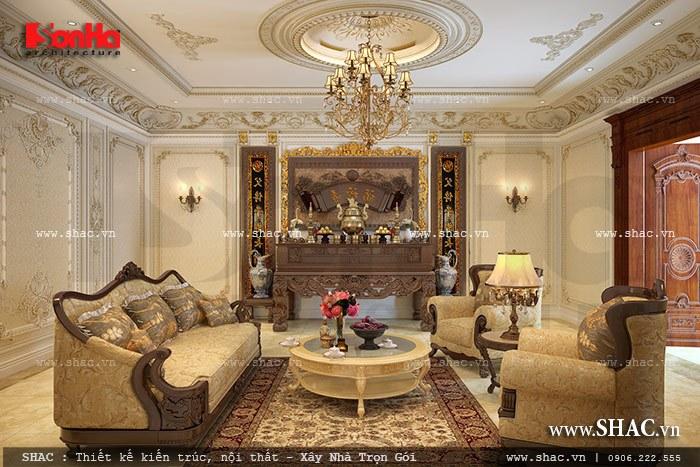Mẫu thiết kế nội thất phòng thờ cổ điển tôn nghiêm phù hợp với không gian của ngôi biệt thự