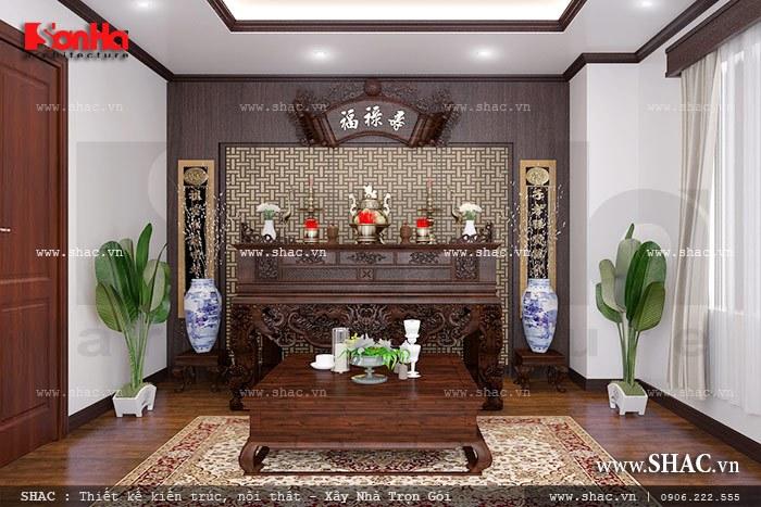 Phương án thiết kế phòng thờ truyền thống được bố trí nội thất tiện nghi và trang nghiêm