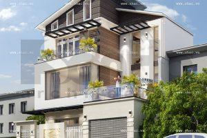 Phương án thiết kế biệt thự phố hiện đại 3 tầng sh btd 0041