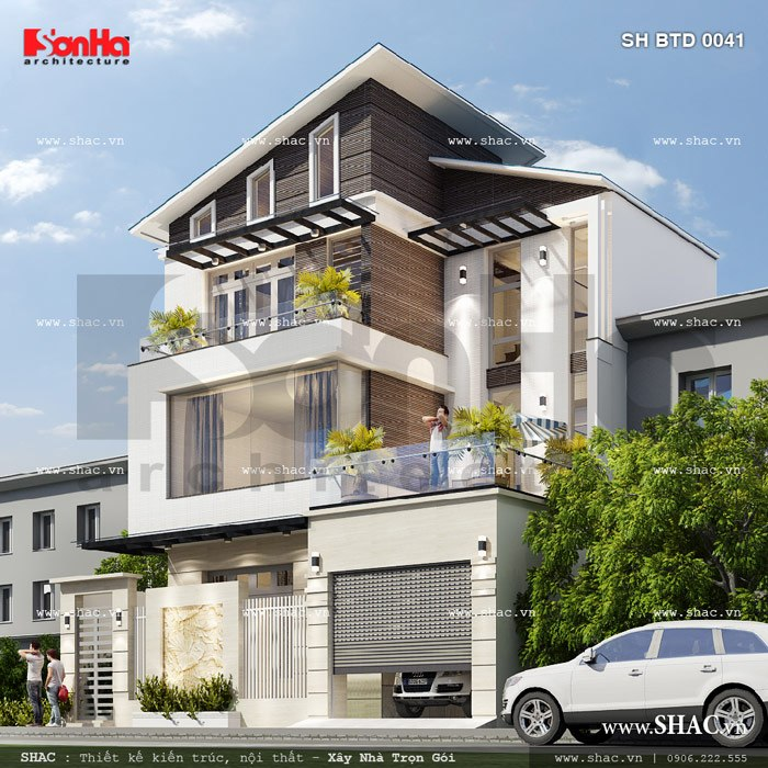 Phương án thiết kế biệt thự phố hiện đại 3 tầng đẹp chinh phục mọi ánh nhìn người qua đường