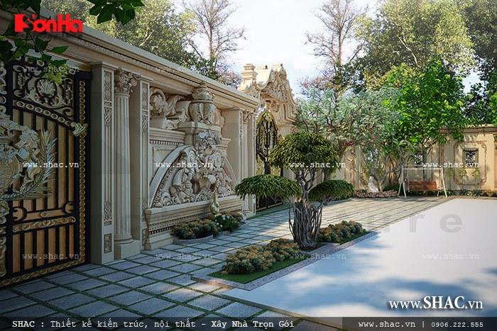Phương án thiết kế sân vườn của ngôi biệt thự cổ điển với tiểu cảnh được đắp vẽ họa tiết ấn tượng