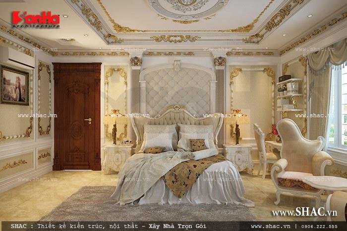 Thiết kế nội thất phòng ngủ với phào chỉ nét đặc trưng của kiến trúc cổ điển, xứng  tầm giá trị của ngôi biệt thự lấu đài tại Quảng Ninh