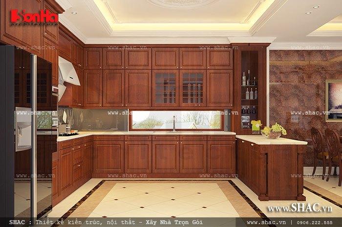 Mẫu thiết kế tủ bếp chữ U đẹp trong không gian phòng bếp ăn nội thất gỗ đẹp đảm bảo công năng sử dụng khoa học