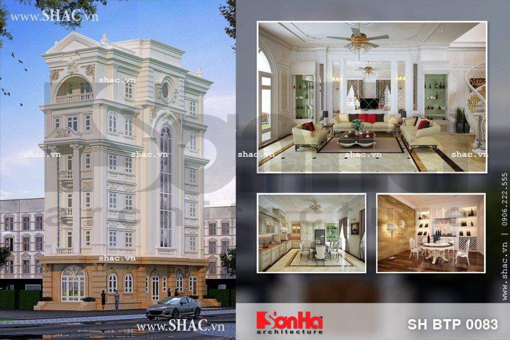 Phương án thiết kế kiến trúc xa hoa và nội thất tiện nghi của biệt thự cổ điển Pháp 6 tầng tại Đồng Nai