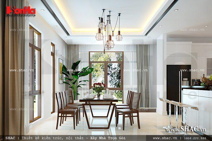 Thích thú với mẫu thiết kế nội thất phòng bếp ăn đẹp trang nhã của biệt thự hiện đại trong không gian thông thoáng