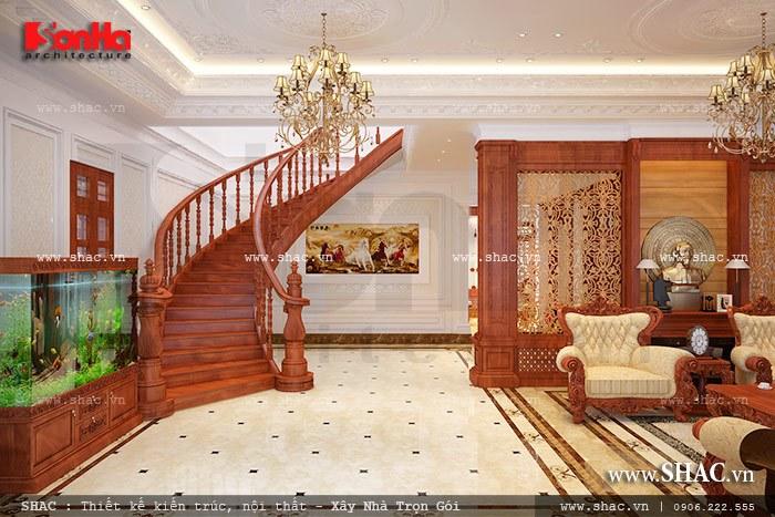 Cầu thang gỗ cho biệt thự đẹp sh btp 0078