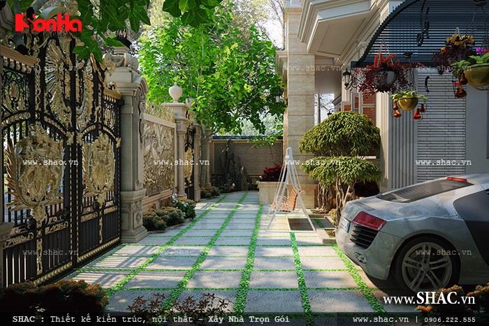 Khoang sân vườn trước của biệt thự sh btp 0078