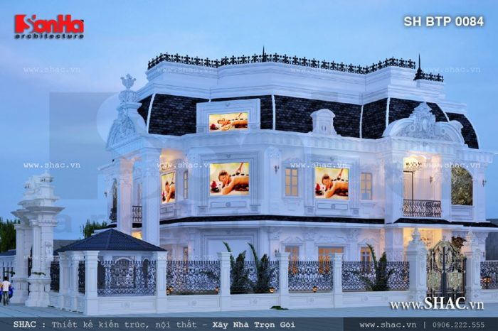 Mẫu thiết kế biệt thự kiến trúc Pháp trung tâm spa 5 tầng mang phong cách cổ điển đẹp