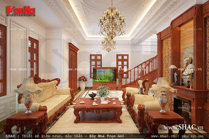 Không gian phòng khách sang trọng của biệt thự cổ điển được thiết kế nội thất gỗ cao cấp