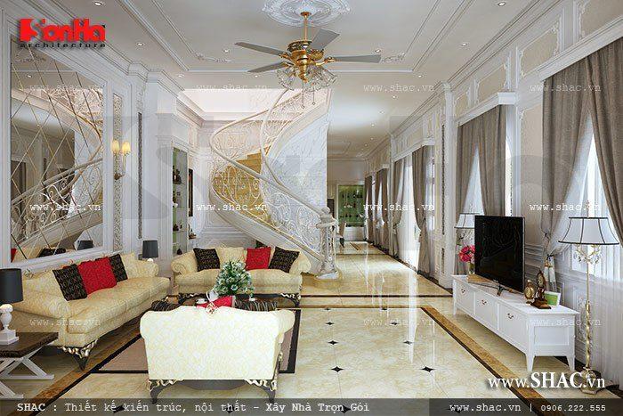 Không gian phòng khách biệt thự mang phong cách cổ điển sang trọng được bố trí nội thất hài hòa hợp lý