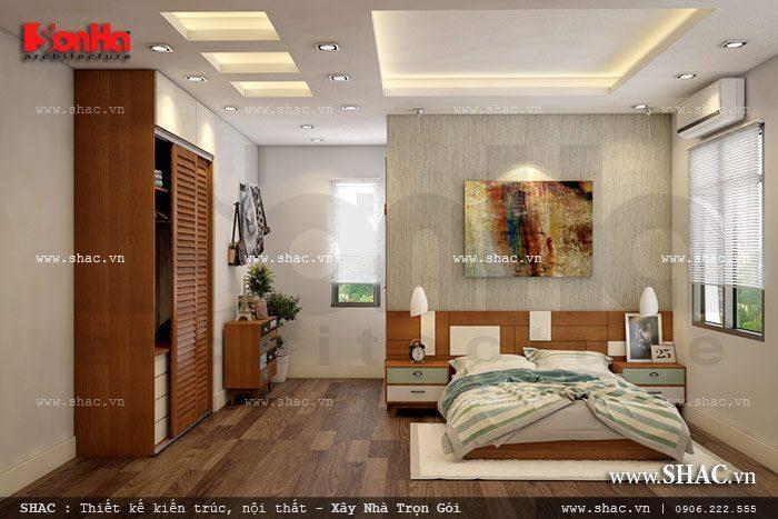 Cách xử lý bố cục khoa học và hợp lý của KTS Sơn Hà được thể hiện rõ nét qua mẫu thiết kế nội thất phòng ngủ biệt thự độc đáo và ấn tượng này
