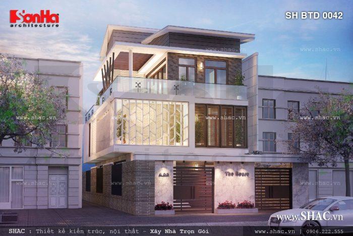 Mẫu biệt thự 3 tầng phong cách kiến trúc hiện đại đẹp sở hữu mặt tiền khang trang và ấn tượng
