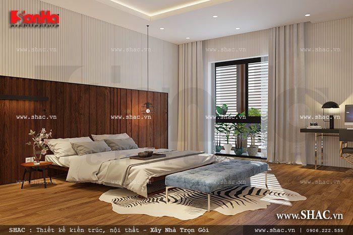 Không gian phòng ngủ biệt thự hiện đại rộng thoáng có thiết kế nội thất sang trọng