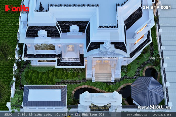 Góc view thể hiện rõ nét mọi không gian kiến trúc của ngôi biệt thự kinh doanh trung tâm spa từ trên cao xuống càng cho thấy vẻ đẹp cổ điển đầy cuốn hút