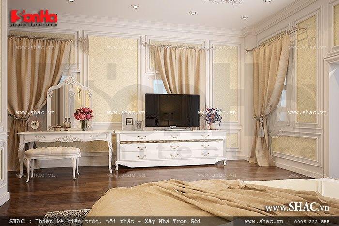 Nội thất phòng ngủ đẹp với tone màu xuyên suốt có chiều sâu và được đánh giá là hợp thời
