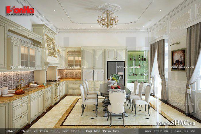 Mẫu thiết kế nội thất phòng bếp biệt thự Pháp với nội thất cổ điển gam màu trắng trang trọng và tiện nghi