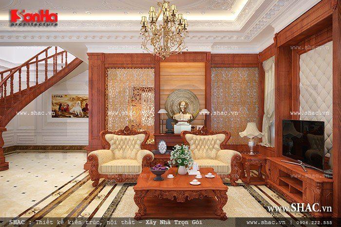 Mẫu phòng khách biệt thự cổ điển đẳng với thiết kế nội thất gỗ theo xu hướng mới 2017