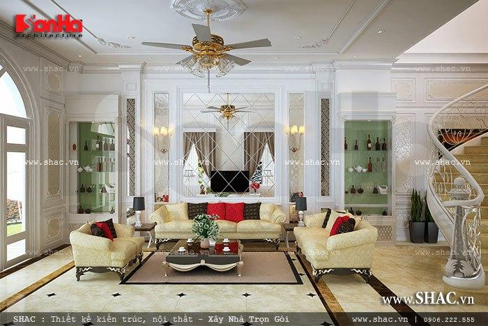 Phương án thiết kế nội thất phòng khách đẹp cho biệt thự sang trọng phong cách Pháp đẳng cấp