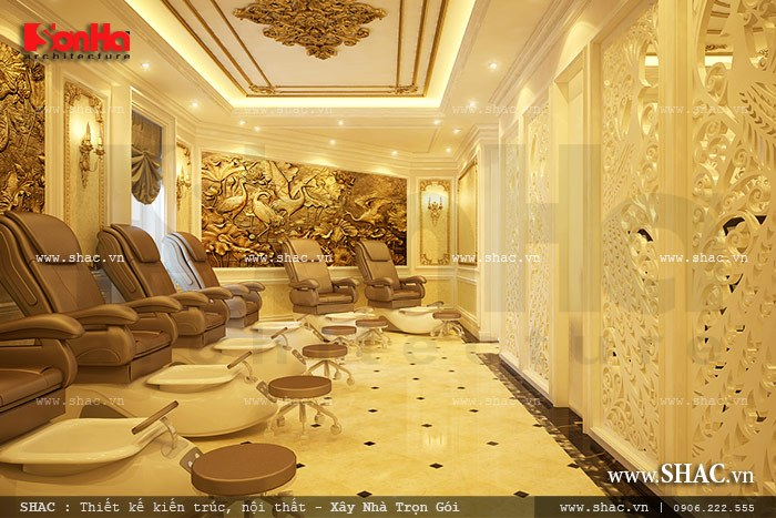 Cách bố trí nội thất phòng làm nail quy mô với máy móc hiện đại tại trung tâm spa 5 tầng