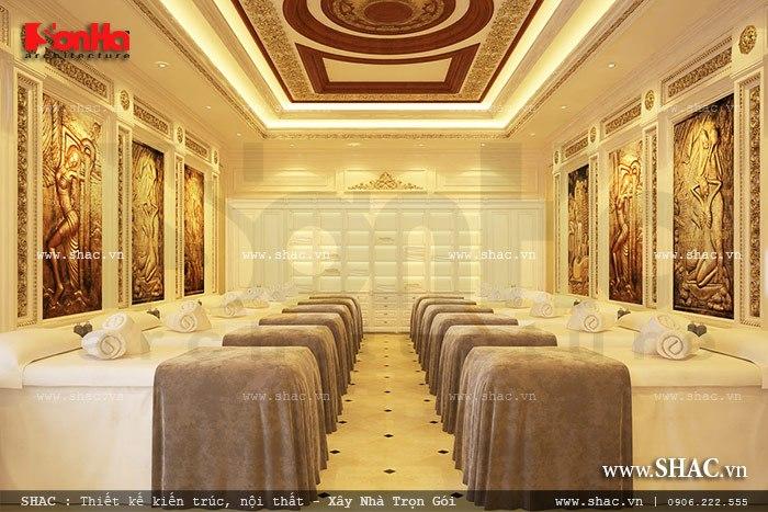 Không gian phòng massage tập thể nam được bố trí nhiều giường rất tiện nghi