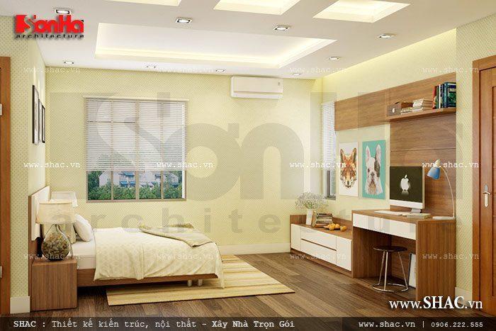 Phong cách nhẹ nhàng của mẫu thiết kế nội thất phòng ngủ đẹp của biệt thự hiện đại
