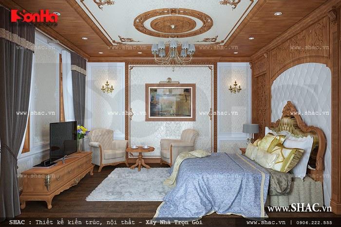 Phòng ngủ được ốp trần gỗ đẹp sh btp 0078