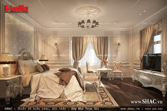 Ấn tượng bởi vẻ đẹp cổ điển đẳng cấp của mẫu phòng ngủ kiểu Pháp tại ngôi biệt thự 6 tầng