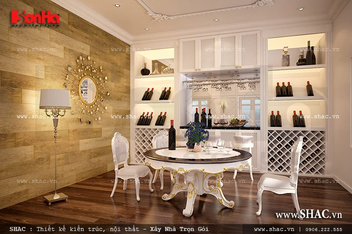 Trong phương án thiết kế nội thất biệt thự, KTS Sơn Hà bố trí thêm phòng rượu với thiết kế nội thất ấn tượng đáp ứng đúng yêu cầu của chủ đầu tư