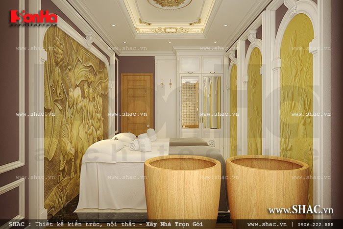 Để tạo không gian riêng tư cho các cặp đôi, KTS Sơn Hà đã thiết kế thêm mẫu phòng spa đôi nội thất cổ điển sang trọng