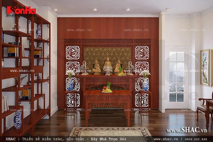 Không gian phòng thờ của gia đình được thiết kế giản dị nhưng vẫn toát lên sự tinh tế và có chiều sâu