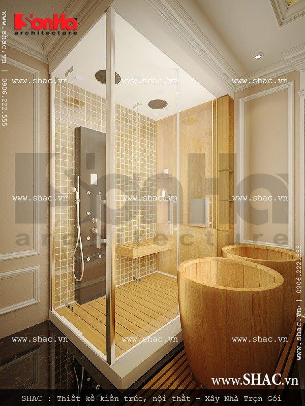 Phòng vệ sinh tắm trắng cũng được thiết kế và bố trí rất tiện nghi với nội thất cao cấp