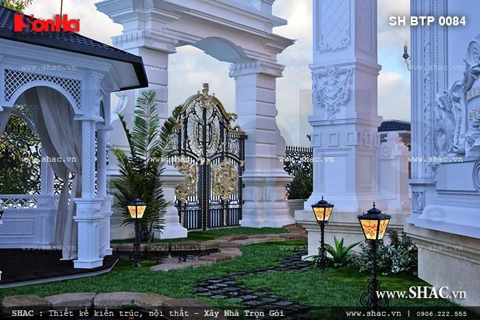 Thật sự ngỡ ngàng và bị chinh phục trước diện mạo bề thế và đồ sộ của công trình thiết kế trung tâm spa cổ điển có sân vườn tiểu cảnh rộng và hoành tráng