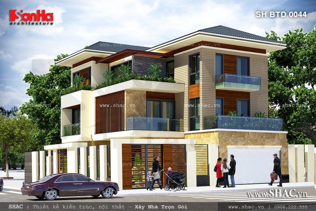 Phương án thiết kế cho ngôi biệt thự hiện đại và sang trọng sh btd 0044