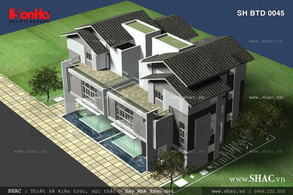 Thiết kế biệt thự song lập phong cách hiện đại sh btd 0045