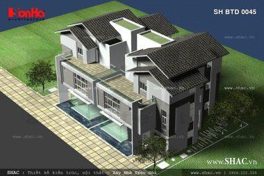 Thiết kế biệt thự song lập phong cách hiện đại – SH BTD 0045 1