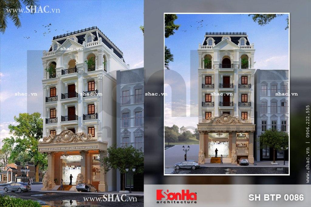 Phối cảnh thiết kế kiến trúc biệt thự kiểu Pháp 6 tần sang trọng tại Lạng Sơn