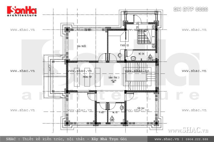 Bản vẽ mặt bằng công năng tầng 3 của mẫu thiết kế biệt thự kiến trúc Pháp tại Thái Bình