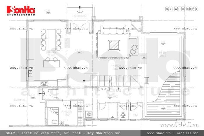 Bản vẽ mặt bằng công năng tầng 1 của biệt thự sh btd 0043