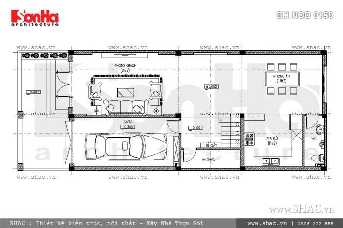 Bản vẽ mặt bằng công năng tầng 1 của nhà phố sh nod 0150