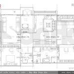 Bản vẽ mặt bằng công năng tầng 2 của biệt thự sh btd 0043