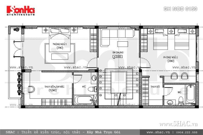 Bản vẽ mặt bằng công năng tầng 2 của nhà phố sh nod 0150