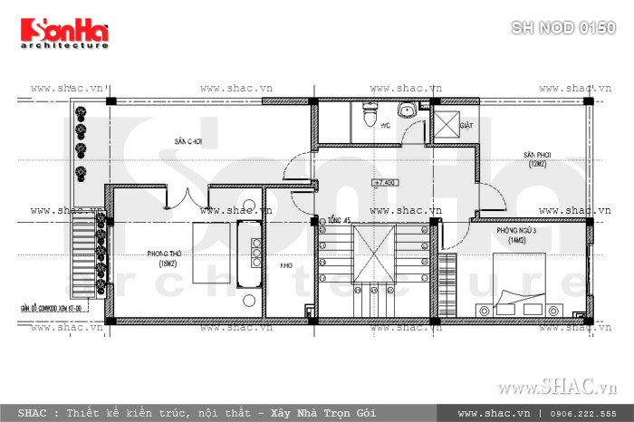 Bản vẽ mặt bằng công năng tầng 3 của nhà phố sh nod 0150
