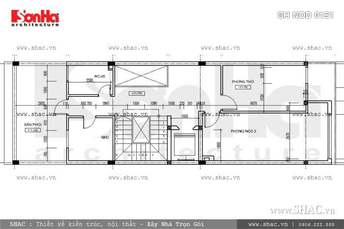 Phương án thiết kế nhà phố mặt tiền 6m hiện đại đẹp - SH NOD 0151 7