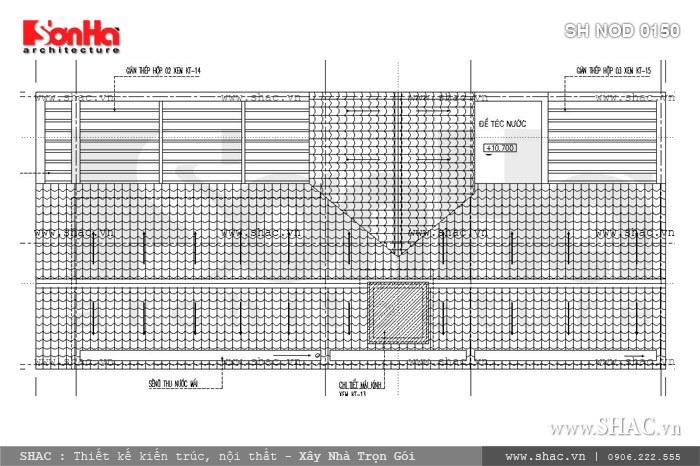 Bản vẽ mặt bằng tầng mái của nhà phố sh nod 0150