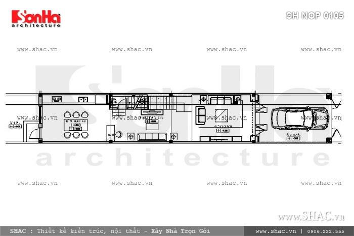 Bản vẽ mặt bằng t1 của ngôi nhà ống sh nop 0105