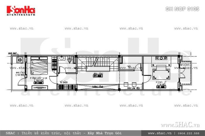 Bản vẽ mặt bằng t3 của ngôi nhà ống sh nop 0105