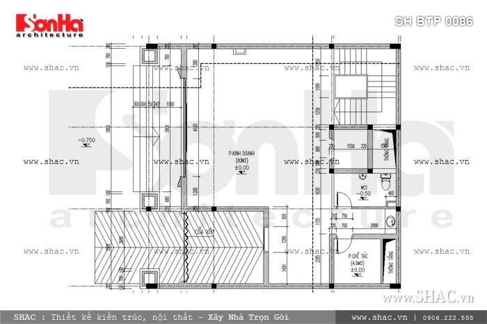 Bản vẽ mặt bằng công năng tầng 1 mẫu thiết kế biệt thự Pháp 6 tầng phục vụ cho mục đích kinh doanh của gia chủ với phòng trưng bày sản phẩm và phòng chế tác