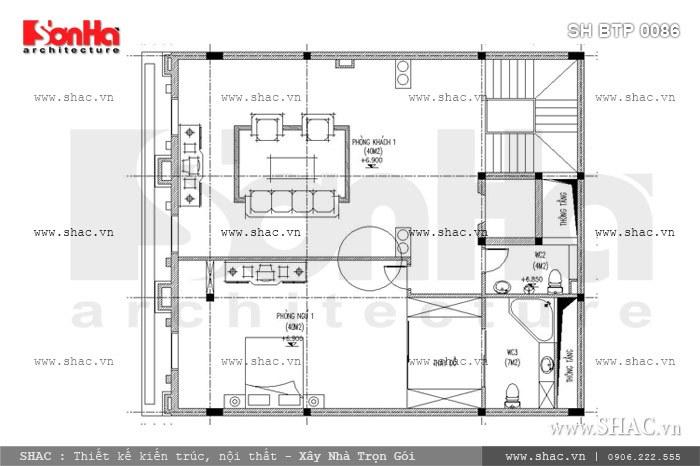 Bản vẽ mặt bằng công năng tầng 2 của thiết kế biệt thự cổ điển Pháp được bố trí các phòng chức năng, bao gồm: 1 phòng ngủ, WC chung và sảnh thông tầng