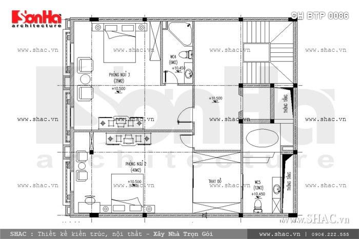Cách bố trí công năng tầng 3 của biệt thự Pháp 6 tầng cũng rất được đánh giá cao gồm 2 phòng ngủ có đầy đủ phòng thay đồ và WC tiện nghi