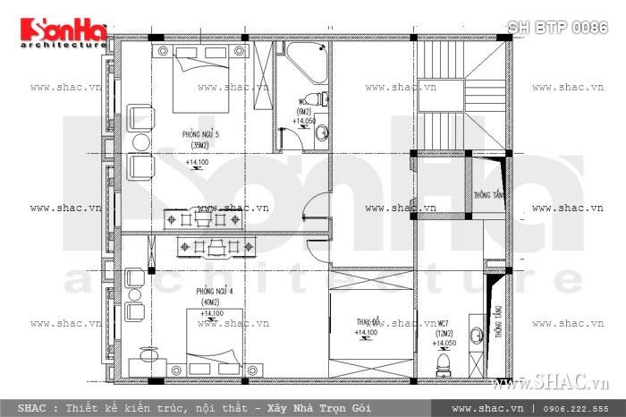 Bố trí công năng mặt bằng tầng 4 của biệt thự được ưu tiên cho không gian phòng ngủ